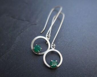 Green Onyx Handmade Earrings, Sterling Silver Circle Drop Earrings With Set Gemstones, Long or Short Earwires, Small Dangle Hoop Earrings