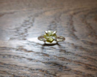 Rough Yellow Diamond Sterling Silver Ring SZ 6 ~ Conflict Free ~ Diamond 7mm x 7mm