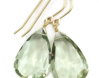 Green Amethyst Earrings Prasiolite Faceted AAA Pear Teardrop 14k Gold Filled or Sterling Silver Large Fat Drop Classic Briolettes
