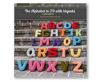 Crochet patterns paper book  - The Alphabet in 3D with Bigunki  -  English edition