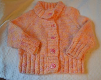 buttoned lapel collar, hand knitted girl jacket