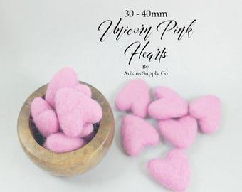Wool Felt Hearts - DIY Heart Garland - Pink Wool Felt Hearts - Craft Supply Hearts - Handmade Felt Hearts - Wool Pom Pom - Felt Garland