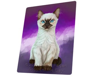 Siamese Kitten Art Portrait Print Throw Blanket