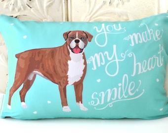 Boxer Art Pillow- You Make My Heart Smile