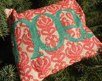 Green Noel on Red Damask Motif - Handmade Finished Cross Stitch Christmas Pillow, 32x30 cm, 128x122 stitches
