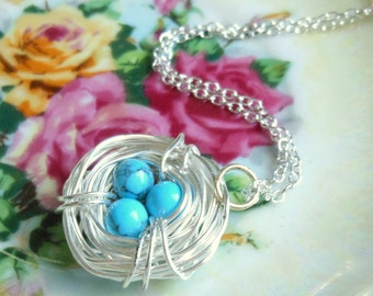 Silver Wire Wrapped Bird Nest Necklace with Turquoise Blue Eggs,Long Necklace