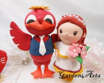 NEW--Mascot Wedding Cake Topper--Love mascot Couple with Circle Clear Base