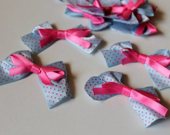 x 5 in satin ribbon bow - pink blue - Scrapbooking Cardmaking - wedding baptism birth