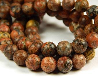 15 Inch Strand - 8mm Round Red Leopardskin Jasper Beads - Gemstone Beads - Jewelry Supplies