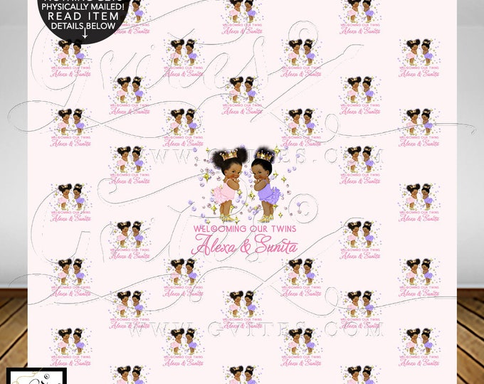Twins Step and Repeat Backdrop, Bling Baby Shower, african american baby girl, photo booth poster wall backdrops, Afro Puffs, Gvites.