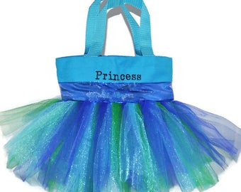 Tutu Bag, Dance Bag, Blue Sparkle Ribbon, Monogram Name Embroidered on the Bag. Personalized Girl, Ballet Bag, Dance Bag, Halloween Bag