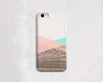 iPhone 8 Case Wood, Mint and Pink iPhone Case, iPhone 7 Case Wood, Samsung Galaxy S6 Case, Tech Gifts, iPhone SE Case Wood – Not Real Wood