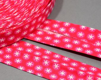 Cotton 4 m 30mm - polka dots - stars on pink background