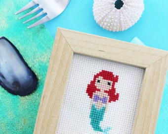 The Little Mermaid Inspired Mini Cross Stitch Picture (Framed)