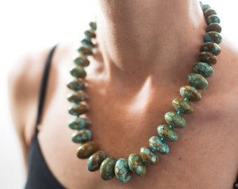 Chinese Turquoise Necklace, chunky necklace, polished rondels, silver tone clasp. MN1552
