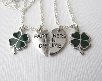 2 Partners in Crime, Four Leaf Clover- Friendship Necklaces/ Bff, Bff Jewelry, best friends gift, gift idea, Best Friends, in crime Jewelry