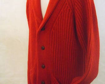 Mens Hand Frame Knitted Shawl Collar Cardigan