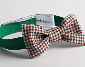 Baby Boy Bow Tie - Red & Green Check  with Contrasting Green Neckband - Cotton Bow Tie, Boy's Wedding Bow Tie, Check Bow Tie, Baby Christmas