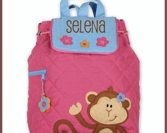 Personalized PINK GIRL MONKEY Quilted Backpack by Stephen Joseph