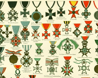 1897 Medals of Honor, Large size antique print, Military Decoration, Patriotic, Religious, Historical print, Larousse 115 Years old