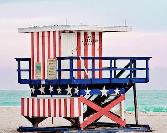 Red White and Blue Miami Beach Hut Lifeguard Tower Beach House Decor Coastal Wall Art Ocean Photography Print Large Wall Art Photo Print