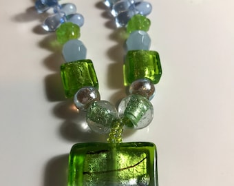 Green and Blue Glass and Acrylic Bead Necklace and Earring Set