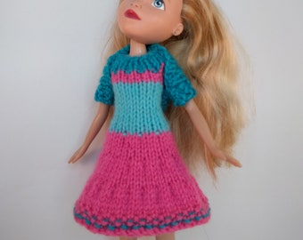 Swing dress and shrug - Handmade hand knitted clothes to fit upcycled Bratz doll