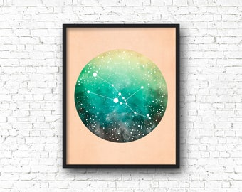 Taurus Constellation Art, Zodiac Sign, Taurus Print, Taurus Gift