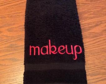 "Makeup Removal Towel, Makeup Removal Washcloth - Embroidered ""Makeup"""