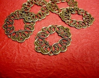 30pc antique bronze filigree oval connector-2907