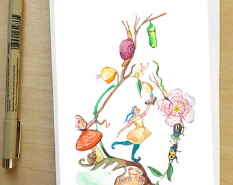 Dew Drop Gnome, greeting card by Abigail Gray Swartz, 5x7 floral and fauna, fairytale