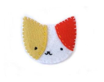 Colorful cat brooch, calico cat pin, fun jewelry, animal pin