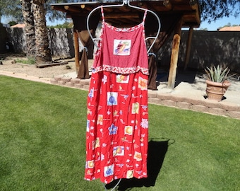 Fruit dress Size 12 Vintage dress 40 inch bust 47 inch length Carol Anderson-plus size clothing- plus size- -plus size clothing--plus size
