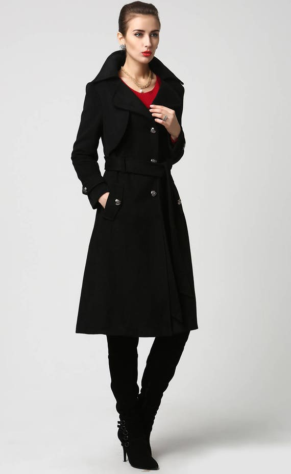 7dc17325aee URSMARTHigh-end brand new autumn and winter female long black coat  weatherproof women windbreaker jacket. black wool coat