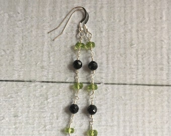 Peridot, Spinel and Sterling Silver Earrings - Free U.S. Shipping