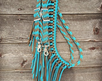 Horse tack, fringe barrel reins, paracord, brown and turquoise, 8ft adjustable