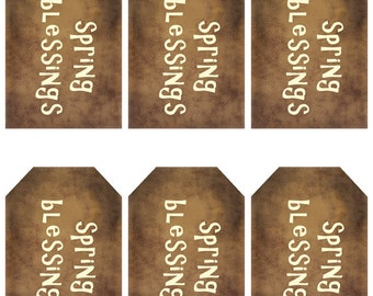 grungy tag set - spring blessings - digital PDF & jpeg - SBGT01