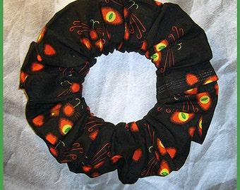 Halloween Hair Scrunchie, Holiday Fabric Hair Tie, Ponytail Holder , Black Cat's
