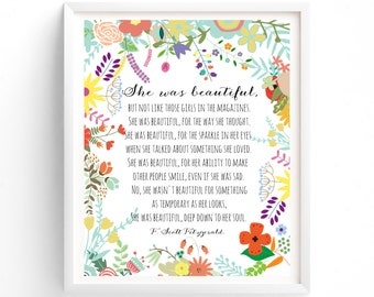 Art Prints, She was beautiful, Printable Quotes, Wall Art Prints, Printable Art, Wall Art, Instant Download Print,