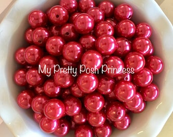 20mm Raspberry Red Chunky Bead Faux Pearl (A38)