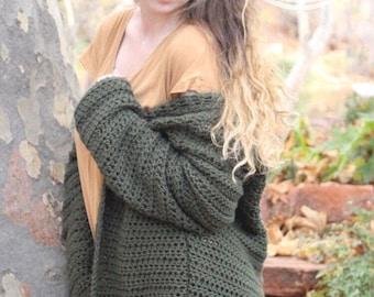 CROCHET PATTERN, The Bennett Oversized Cardigan Pattern, Oversized Sweater, Long Sleeve, Beginner Friendly
