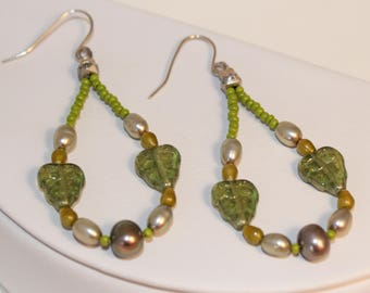 Green Leaf Loop Earrings Glass Freshwater Pearl Large Hoop Earrings Olive Sage Bright Green Chartreuse Silver Shimmer Shimmer Ready To Ship