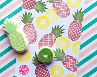 pineapple rubber stamp set | pineapple slice | tropical fruit stamp | summer birthday card making | hand carved by talktothesun | set of 2
