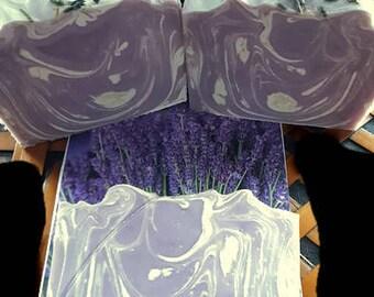 Lavender soap, purple soap, dried lavender buds, essential oil, handmade lavender, low shipping, botanical lavender scent, organic