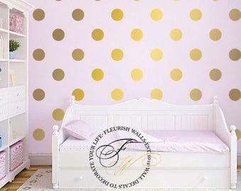 Polka Dot Wall Decal - Gold Wall Decal - Gold Dot Wall Sticker - Gold Polka Dot Wall Decor for Nursery - Girls Room Pattern Wall Decal DP011