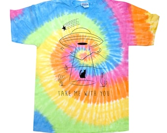 Cat UFO Abduction Tie Dye T-Shirt