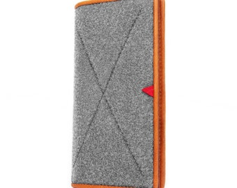 iPhone 7 Plus Case Wool Felt Phone Sleeve iPod Sleeve Cover with Card Pocket Genuine Leather iPhone Bag Wallet for iPhone 6/6S Plus