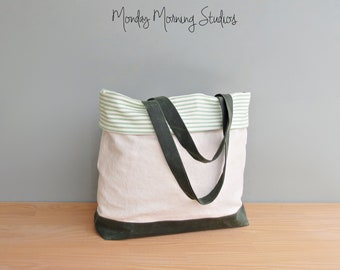 Linen and Waxed Canvas Teacher Tote Bag, Green Cuffed Top Bag with Striped Cotton Ticking, Large Spring Summer Casual Carryall, Vegan Bag