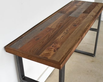 Rustic Patchwork Reclaimed Wood Console Table | Industrial Sofa Table