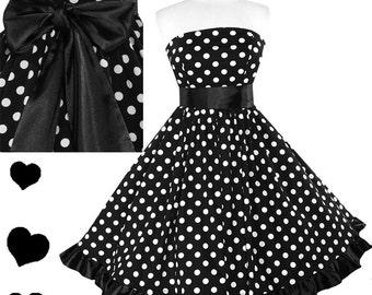 New Rockabilly Dress Polka Dot 50s Style Full Skirt Strapless Swing Dress L XL 1X 2X 3X Plus Ruffle Bow Sash Black White